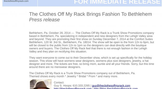 The Clothes Off My Rack Brings Fashion To Bethlehem