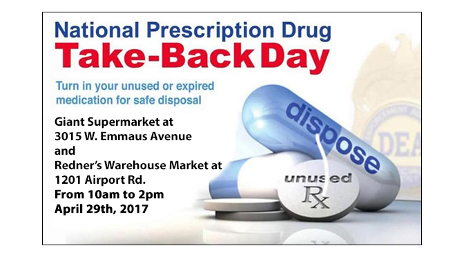 DRUG TAKE BACK DAY SET FOR APRIL 29