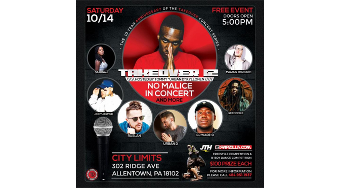"""TAKEOVER 12"" Faith-Based Hip-Hop Event to Take Over  City Limits in Allentown October 14"