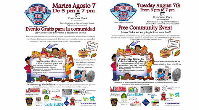National Night Out is coming to Overlook Park on Tuesday, August 7, from 3-7 pm
