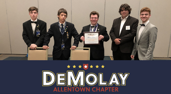 Allentown DeMolay Wins Most Outstanding DeMolay Chapter in Pennsylvania for Second Year in a Row