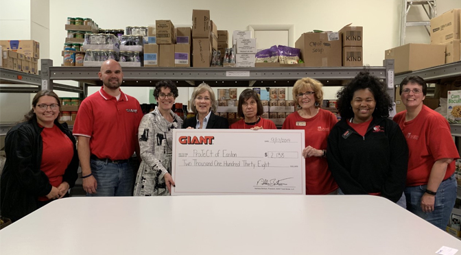 GIANT CUSTOMERS DONATED $2,138 TO PROJECT OF EASTON IN RECOGNITION OF NATIONAL HUNGER ACTION MONTH