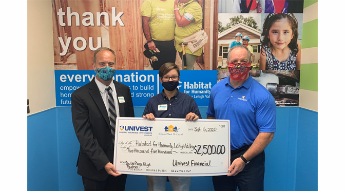 Univest presents Habitat for Humanity with a $2,500 donation. Pictured left to right are: Kevin Davis, vice president and senior benefits consultant for Univest Insurance and board member for Habitat for Humanity Lehigh Valley; Jessica Elliott, executive director, Habitat for Humanity Lehigh Valley; and Mike Keim, president, Univest Bank and Trust Co.