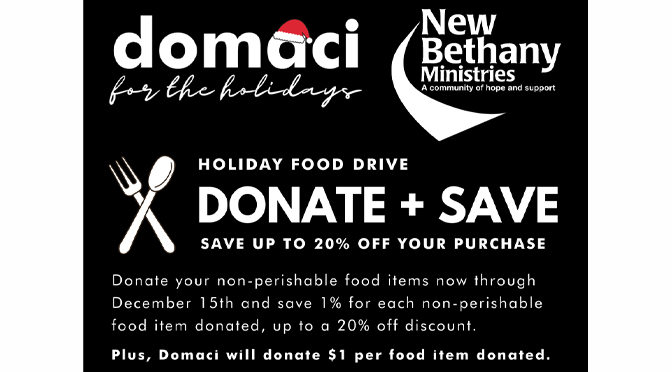 Domaci Partners with New Bethany Ministries to Fight Hunger this Holiday Season