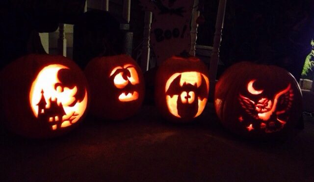 Garavaglia Family Pumpkins. Tina (41), Faith (15), Hope (9) and Ken (43).
