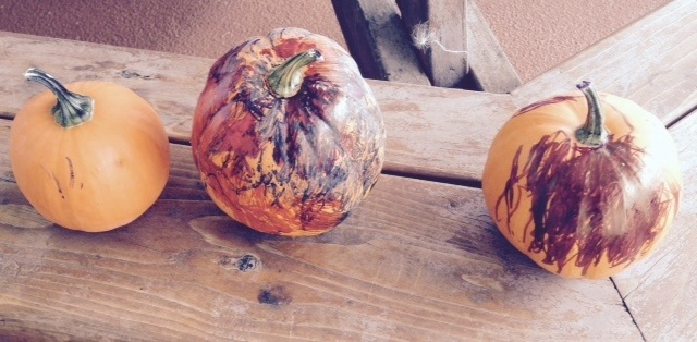 Priceless Handpainted Pumpkins by: Jessica, age 3, & Zayne, age 2