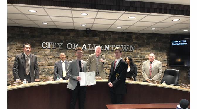 ALLENTOWN DEMOLAY COMMEMORATES CENTENNIAL OF DEMOLAY AND MARCH AS DEMOLAY MONTH IN ALLENTOWN WITH PROCLAMATION FROM ALLENTOWN CITY COUNCIL