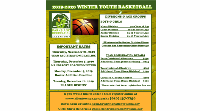 2019-2020 YOUTH BASKETBALL LEAGUE REGISTRATION OPEN