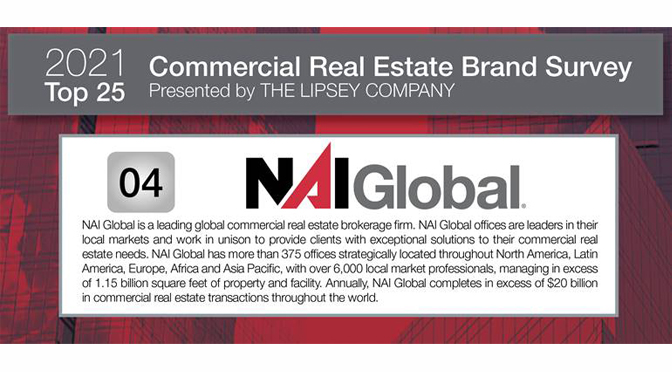 NAI Global Ranked Among Top Five Commercial Real Estate Brand in the 20th Annual Lipsey Survey
