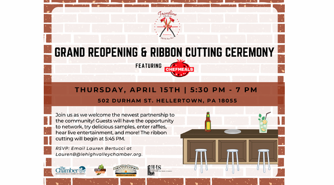 Grand Reopening & Ribbon Cutting Ceremony to be hosted  for Frontline at the Dewey featuring Chefmeals