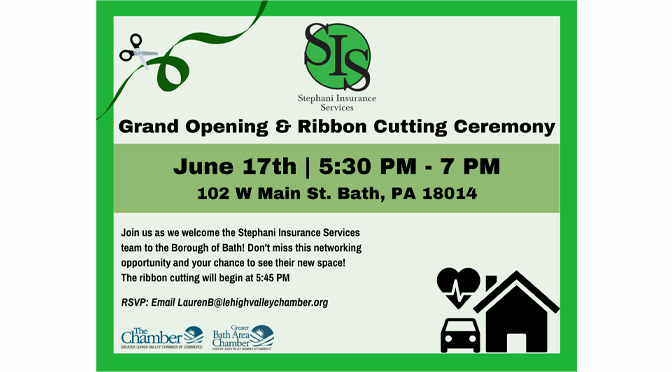 Grand Opening & Ribbon Cutting Ceremony to be hosted  For Stephani Insurance Services