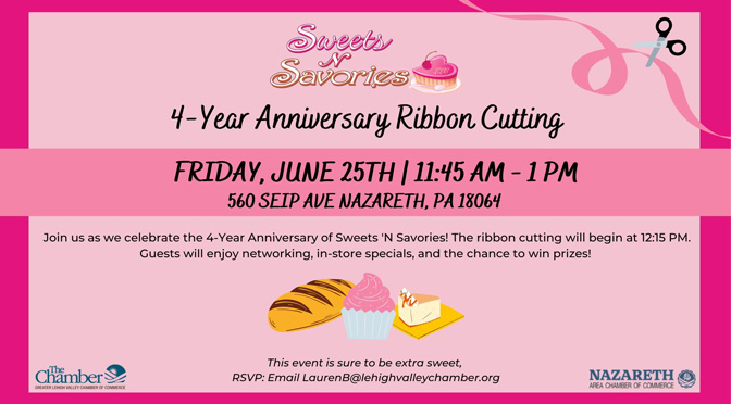 4-Year Anniversary Ribbon Cutting Ceremony to be hosted  for Sweets 'N Savories