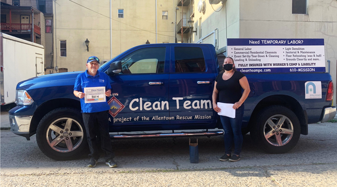 The Allentown Rescue Mission's Clean Team Workforce Employee of the Month Bill H.