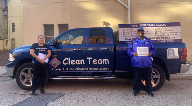 The Allentown Rescue Mission's Clean Team Workforce Employee of the Month Joe T
